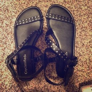 Black Studded Sandals